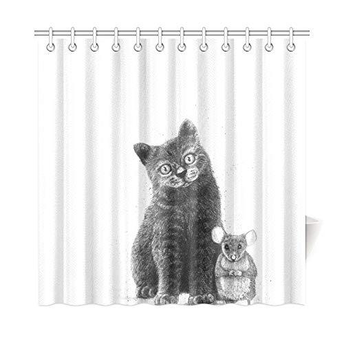 JSXMNA Wohnkultur Bad Vorhang Freunde Für Das Leben Maus und Katze Polyester Stoff Wasserdicht Duschvorhang Für Badezimmer, 72 X 72 Zoll Duschvorhänge Haken Enthalten