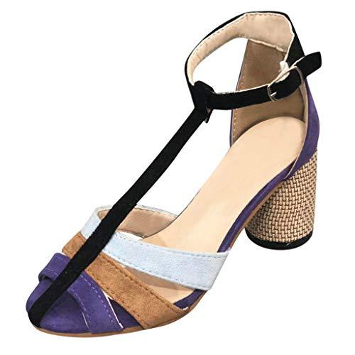 YU'TING - Scarpe col Tacco con Cinturino Dietro la Caviglia Donna Scarpe col Tacco Punta Aperta con Cinturino a T Donna Pactchwork Sandali