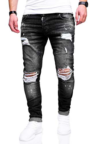 behype. Herren Destroyed Stretch Jeans-Hose Used Slim-Fit 80-2369 Schwarz W33/L32