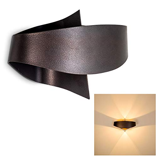 Bronze-metall-wandleuchte (Wandlampe Padua aus Metall in Bronze/Braun, moderne Wandleuchte mit Up & Down-Effekt, 2 x G9 max. 33 Watt, Innenwandleuchte mit Lichteffekt, geeignet für LED Leuchtmittel)