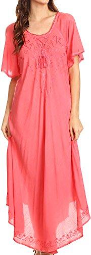 gestickter schnüren sich oben Mieder Relaxed Fit Maxi Sun Kleid - Coral - OS (Plus Größe Hippie Kleider)