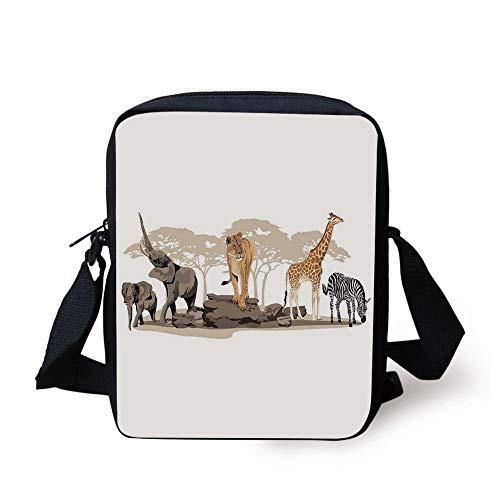 Safari,Illustration of Wild Savannahs African Animals Exotic Giraffe Lion Elephant Zebra,Multicolor Print Kids Crossbody Messenger Bag Purse
