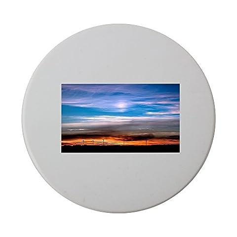 Sunset, Setting Sun, Evening Sky, Sky ceramic round coaster