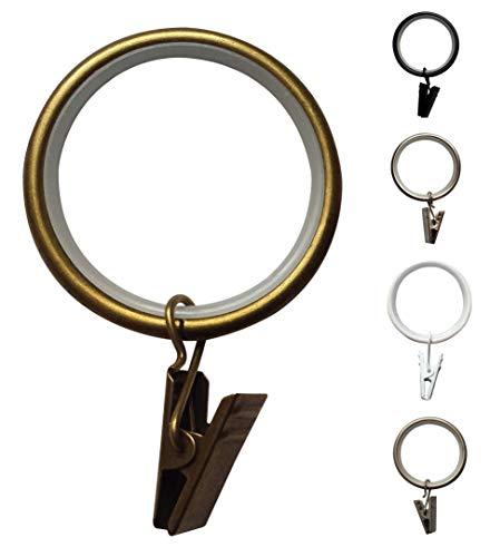 Vorhangringe Leise Clip Ringe Ø35 - 10 Stück (Antik-Messing) -