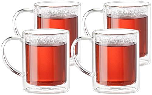 Cucina di Modena Thermogläser: Doppelwandige Teegläser im 4er-Set, je 200 ml (Kaffeegläser)