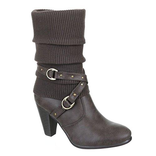 King Of Shoes Klassische Damen Stiefel High Heels Stiefeletten Wadenhohe Stulpen Boots Trichterabsatz 292 (40, Grau)