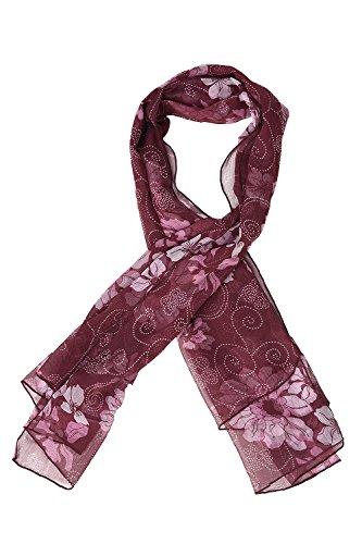 The Gud Look Poly Chiffon Mauve Flower Print Scarf - Purple Free Size