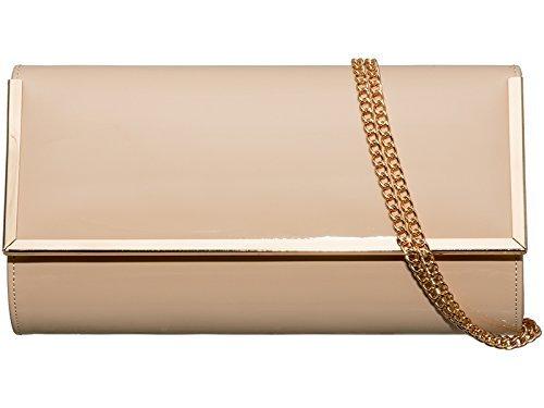 Haute pour Diva's pour femme taille moyenne Imitation cuir verni/garniture dorée Hardcase pour fête/soirée mariage
