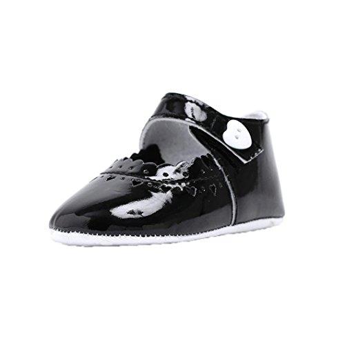 BZLine® Baby Schuhe Herz Soft Soled Anti-Rutsch Schuhe Krippe Schuhe Schwarz