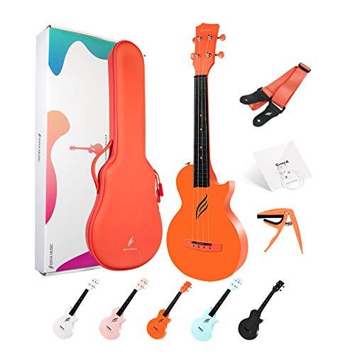 Ukulele Concerto Enya Nova U 23 pollici ukelele kit per principianti con tutto il corpo in fibra di carbonio,borsa imbottita,tracolla,capotasto,corde di scorta(arancio)