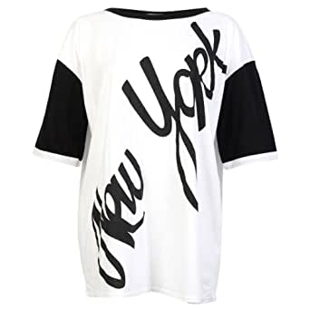94M Womens White Printed Oversized Ladies American Football Jersey T-shirt Size 16