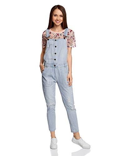 oodji Ultra Damen Jeans-Latzhose mit Knöpfen, Blau, DE 42 / EU 44 / XL