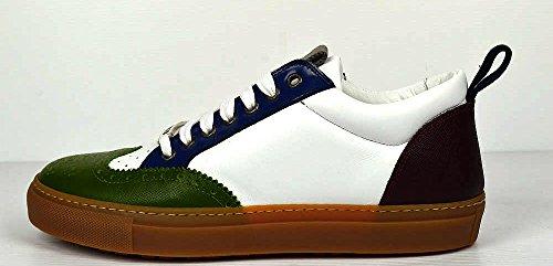 Dsquared Herren Leder Saffiano Sneakers Schnür Schuhe Stiefel Weiss 39 €395 (Stiefel Gucci Herren Schuhe)