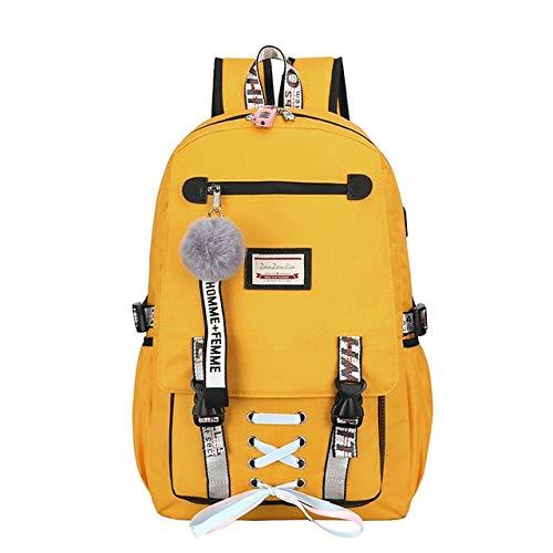 Borse da scuola grandi per ragazze adolescenti usb con serratura zaino antifurto borsa da donna borsa grande da scuola borsa per il tempo libero gioventù college 30x47x14cm a giallo
