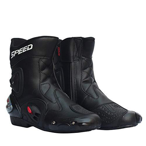 LANLAN Scarpe da motociclismo da uomo Stivali da motociclista in pelle da equitazione da moto fuoristrada per motocross - Nero 42