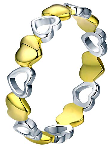 Qings Ring 925 Rosegold Ring Herz für Damen mädchen (Kleine Herzen Ring)