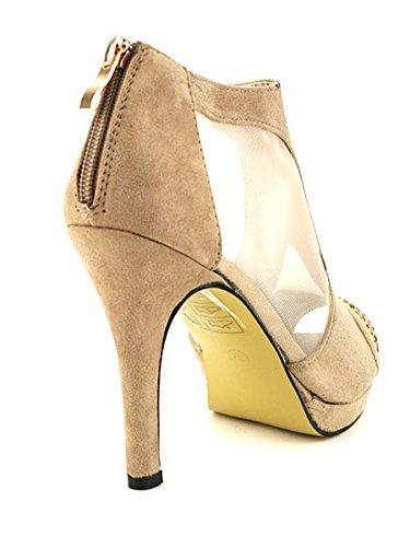 Cendriyon, Low Boots Salomé en Résille et Velours Beige ANYSSA Chaussures Femme Beige