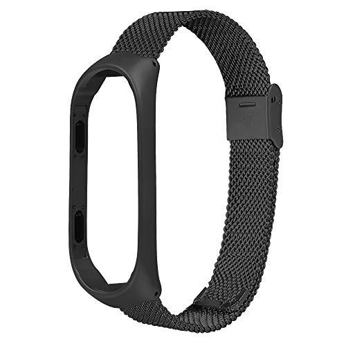 TianranRT Für Xiaomi Mi Band 3 Edelstahl Milanese Luxus Ultradünne Armband Strap (Schwarz)