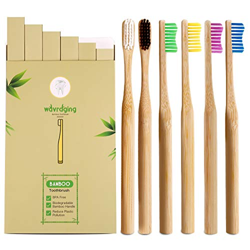 Bamboo Toothbrushes Medium Bristles| BPA Free & Vegan-Friendly Wooden Toothbrush | Eco-Friendly & Biodegradable| Natural Bristles for Healthy Dental Care| Toothbrush in Rainbow Colors, Pack of 6