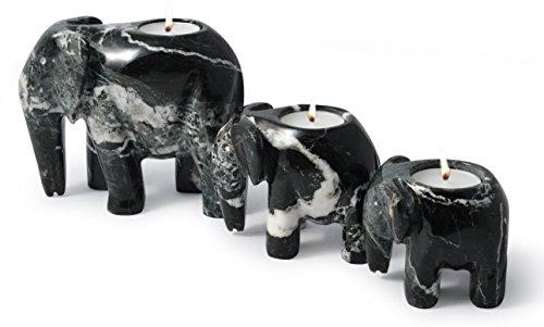 Set von 3 schwarz Marmor Elefant Teelichthalter Kerzenhalter - Teelichter inklusive. -