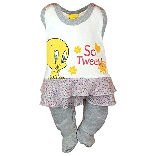 Mädchen BABY-STRAMPLER mit Füßchen, UNGEFÜTTERT, Spiel-Anzug mit Druckknöpfen, BABY-SCHLAFANZUG ÄRMELLOS mit Tweety, Grösse 56, 62, 68, Geschenk für Neugeborene in rosa und grau Color Grau, Size 56 (Lange Ärmel Bereich T-shirts)