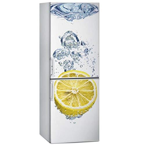 JY ART Autocollants de Porte de réfrigérateur Eau glacée Citron 3D Décoration Bricolage Réfrigérateur Autocollants Cuisine Stickers Muraux, 60 * 150cm