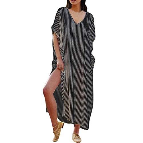 Wawer Frauen Kurzarm V-Ausschnitt Streifen Lose Kleid Langen Rock Micro-Fett MM Sommerurlaub Reisen Foto konkave Haltung am besten -