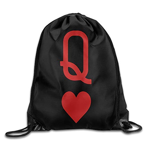 DHNKW Queen of Hearts Playing Card Logo Wonderland Drawstring Backpack String Bag