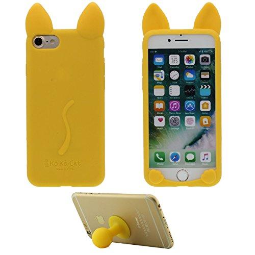 Pour iPhone 7 3D Charmant Chat Forme Coiffant Mode Silicone Gel TPU Doux Slim Ultra Fine Coque Case Etui de Protection pour Apple iPhone 7 4.7 inch ( Blanc ) avec 1 Silicone Titulaire Kickstand jaune