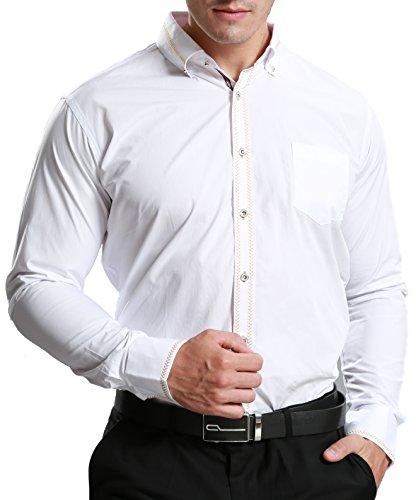 JEETOO Herren Slim Fit Langarm Hemd mit Stickerei Hochzeit Businesshemd Super Modern Lässig Hemd Bügelleicht Weiß