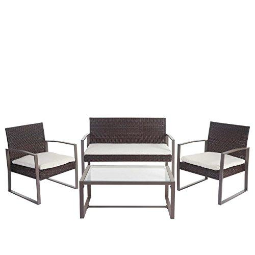 Mendler 2-1-1 Poly-Rattan Garten-Garnitur Siana, Sitzgruppe inkl. Kissen, extra breite Sitze ~ braun