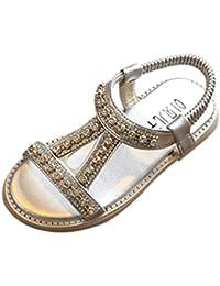 Sandalias Niña ❤️ Amlaiworld Sandalias romanas Bebé Niña Verano Zapatos planos Zapatillas de niñas princesa Sandalias de playa Crystal Chicas (Plata, 29)