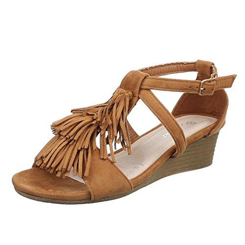 Damen Schuhe, JU-65, SANDALETTEN PUMPS MIT FRANSEN Camel