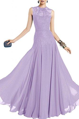 Toscana sposa alla moda rotondo colletto Chiffon per abiti da sposa giovane a lungo la sera festa Bete abiti da sera mode Purple