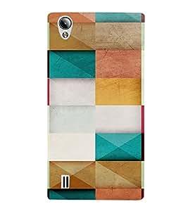 PrintVisa Color Block Pattern 3D Hard Polycarbonate Designer Back Case Cover for VivoY15S