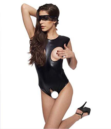 HXLSSZB Damen Catsuit Leder Jumpsuit Overall Catwoman Kostüme Latex Wetlook Sexy Dessous Ouvert Body Clubwear Größe S-M,04
