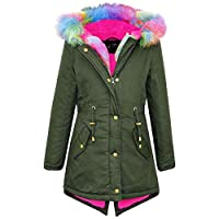 A2Z 4 Kids Kids Hooded Jacket Girls Rainbow Faux Fur Parka - Khaki - 11-12 Years