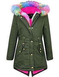 3cb3bac2343 A2Z 4 Kids® Kids Girls Hooded Jacket Designer's Rainbow Faux Fur Parka  School Jackets Outwear Coat New Age 2 3 4…
