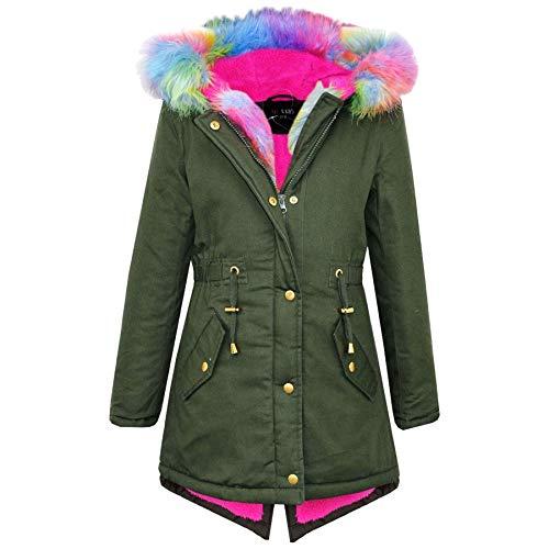 cke Mit Kapuze Mädchen Rainbow Pelz Parka Schule Jacken Outwearlinie Mantel New 122 128 134 140 11 12 13 Jahre - Khaki, 7-8 Years ()