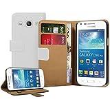 Membrane - Blanc Portefeuille Etui Coque Samsung Galaxy Core Plus (GT-G3500 / SM-G350 / G3502 / Trend 3) - Wallet Flip Case Cover Housse