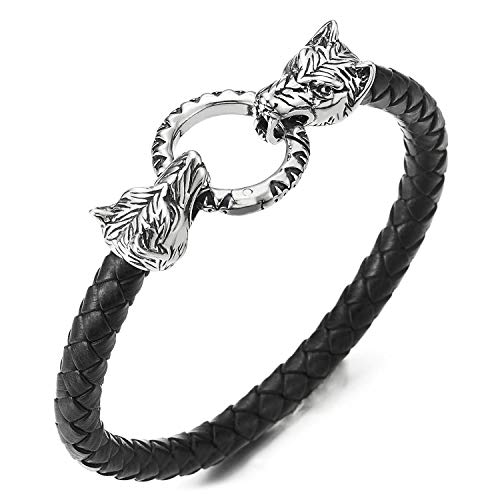 COOLSTEELANDBEYOND Vintage Edelstahl Herren Wolfskopf Armband Schwarz Geflochtenes Leder-Armreif, Retro-Stil O-Ring Federringverschluss