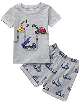 QinMM Camiseta de Dibujos Animados Tops+ Pantalones de bebé Niño y Niña, Conjunto de Camisa de Verano de Manga...