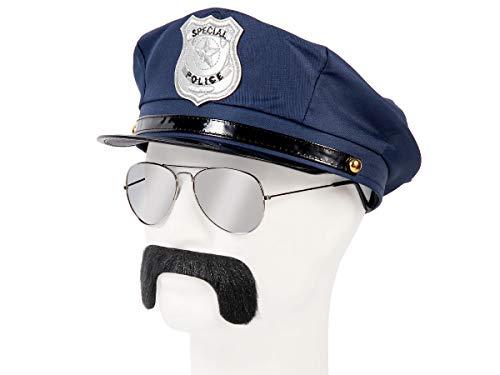 Set di Travestimento da Poliziotto | Blu | KV-133 | 3 Pezzi | Cappello, Occhiali da Sole, Baffi | per Carnevale | Halloween | Festa a Tema | Adulti | Uomo | Donna