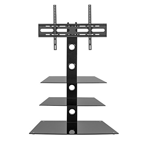 MMT schwarz TV Ständer–Glas Cantilever TV Ständer Einheit mit Halterung–81,3cm bis 139,7cm LCD-LED-Bildschirme