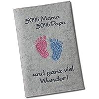 Funda carnet de embarazo «50% Mama 50% Papa» –El original - Diferentes diseños y materiales.