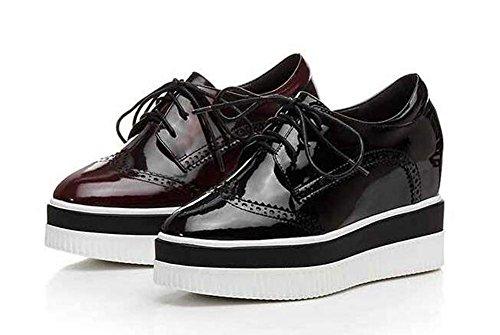 Beauqueen Elevator Loafers Plattform Leder Mandel geformt Zeh Büro Casual Party Vintage Schuhe EU Größe 34-39 Black