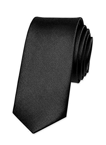Autiga® Krawatte Herren Hochzeit Konfirmation Slim Tie Retro Business Schlips schmal schwarz