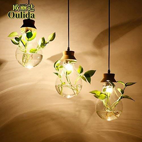 G-D Deckenleuchte Moderne Zeitgenössische Einfache Massivholz Glas Wasserpflanze Kronleuchter Kreative Restaurant Bar Garten Dekoration Blumen Kronleuchter DREI Kopfscheibe