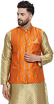 NEUDIS by Dhrohar Jacquard Silk Blend Nehru Jacket/Waistcoat For Men - Orange