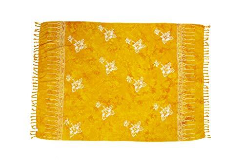 MANUMAR Damen Pareo blickdicht, Sarong Strandtuch in gelb mit Hibiscus Motiv, XL Größe 175x115cm, Handtuch Sommer Kleid im Hippie Look, für Sauna Hamam Lunghi Bikini